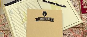 Travelogue reisdagboek met kaart